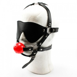 MAE-Toys Rode Geperforeerde Ball Gag Blinddoek Harnas - mae-sm-022red