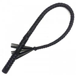 Zwarte Lederen Bullwhip 84cm - mae-sm-077