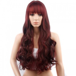 28 inches Long Curly Dark Red Wig - mae-cl-050