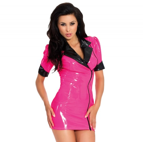 Sexy Datex Latex Kleid kurzarm - le-9224