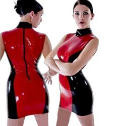 Black/Red PVC Dress - mae-cl-052