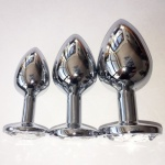 3-delige RVS ronde-Jewel Plug set - mae-ty-007r