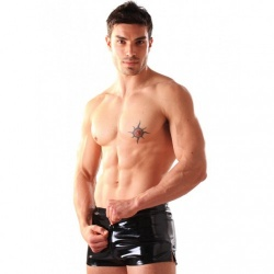 Raunchy black PVC boxer shorts, with an elasticated waist, and a multi thru zip from the front to the back to allow entry without removal.