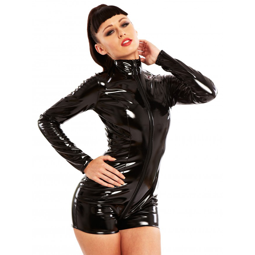With a full front thru-zip, high collar and long sleeves you'll not only demand obedience but admiration. This wonderful, sultry playsuit zips from the the front at the neck to the crotch
