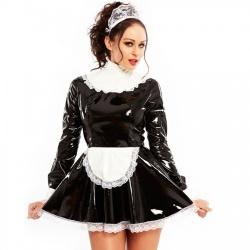 Lak Dienstmeisjes Jurk - Sissy Dress - hr-h2250