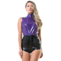 Purple PVC Playsuit with 2 Way Zip - hr-h1262.pur