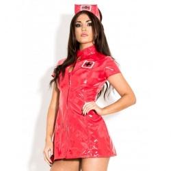 lack-kleid krankenschwester Rot - hr-h2051.red