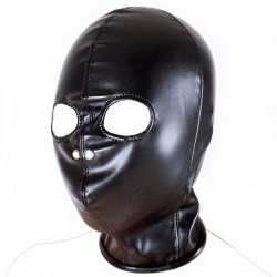 Black PU Leather Slave Hood by MAE-Toys - mae-sm-060