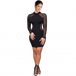 Mini Dress with Sheer Mesh Panels - mae-cl-055
