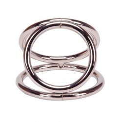 Chrome TriRing Cock & Ball Ring by MAE-Toys - mae-ty-013