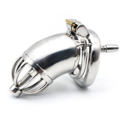 Stainless Steel Chastity Cage with Spiked Ring and Urethral Insert (long version) - mae-sm-062-l
