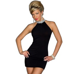 schick Strass Halterline Kleid - mae-cl-061