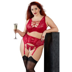 Plus Size Rode Kant Lingerieset - or-22129273