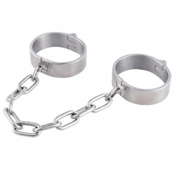 Brushed Steel Ankle Cuffs - Ladies by MAE-Toys - mae-sm-075f