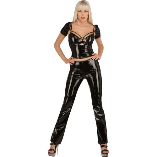 Ladies PVC trousers without waistband. Pants with zipper on the side by Ledapol 1269