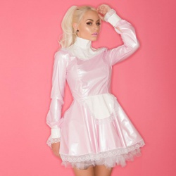 PVC Melody Maid Dress in Pink & White by Honour Clothing #H3037 - hr-h3037