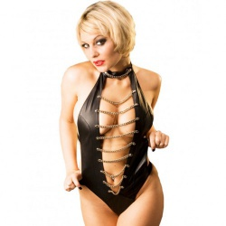 Kinky black Leather Body with Chain Front by Hounour Clothing