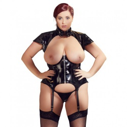 Plus Size Lack-Strapshemd von Black Level - or-2840570