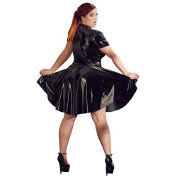 Plus Size Zwarte Lak Jurk van Black Level - or-2851300