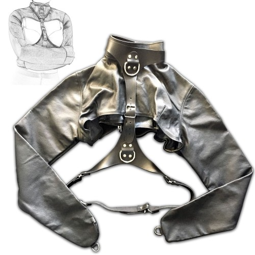 Black Leather Bolero Style Straitjacket