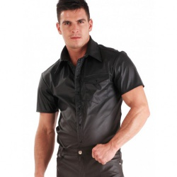 Black Leatherette Men's Shirt by Honour - hr-h1415