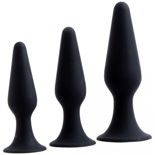 Hands Free Anal Plug Set - Black