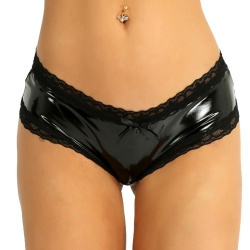 Vinyl & Lace Open Crotch Panties by MAE-Wear - mae-cl-133