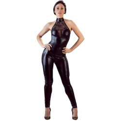 Wetlook Party Overall mit Spitze von Cottelli Collection - or-2730421