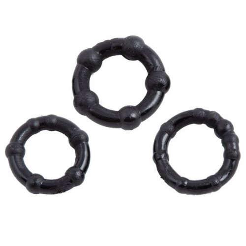 Stay Hard Zwarte Beaded Cockrings (Set van 3) - 211800031