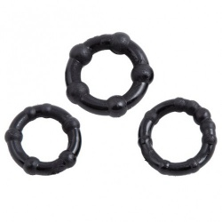 Stay Hard Black Beaded Cockrings (Set of 3) - 211800031