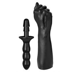 Vac-U-Lock Black Fisting Dildo with Grip by Doc Johnson - 3202-10-bx