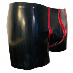 Zwart/Rode Latex Shorts van RubberDutch - rbd-msb06