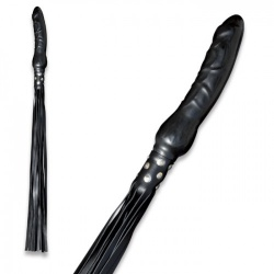 Leather Flogger with Dildo Grip by Saxos - os-0146-s