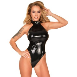 Datex latex bodysuit with high stand-up collar and high leg cut. The stand-up collar has two snaps to close. On the back was a zipper incorporated.