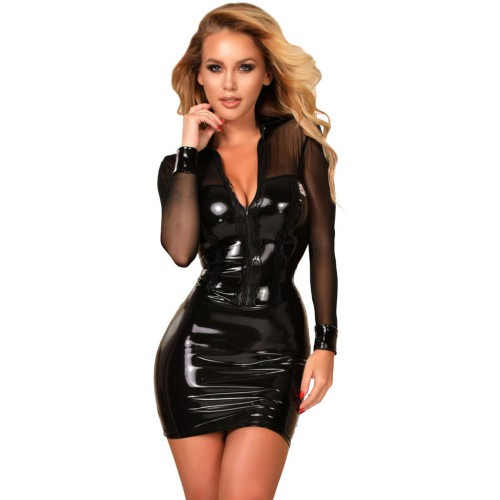 New Ledapol DateX tulle longsleeve mini dress with lace insert in the chest area and a zipper.