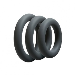 Thick Cockring 3 Set - Slate Grey by Doc Johnson - sht-0690-05-bx