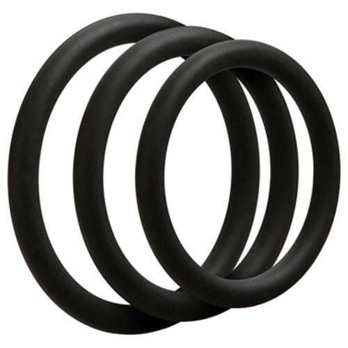 Thin Cockring 3 Set - Black by Doc Johnson - sht-0690-01-bx