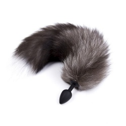 Black and Grey Silicone Fox Tail by MAE-Toys - mae-ty-037