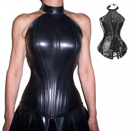 A-line - Halterline Leather Corset