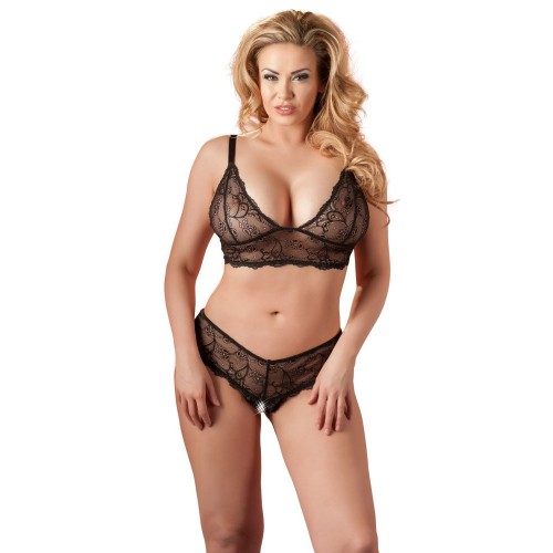 Black Bra and crotchless G-string by Cottelli Collection Plus