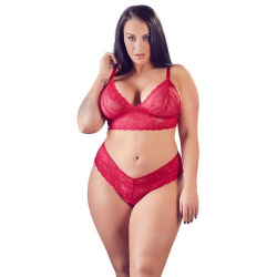 Red Bra and crotchless G-string by Cottelli Collection Plus - or-2212404