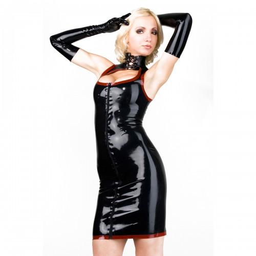 Latex Minikleid mit Kontrastfarbe von Latexa - la-3081