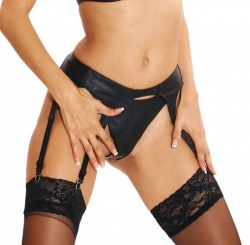 Black Nappa leather String with open by Ledapol - le-668