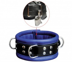 Black-Blue Leather Lockable Collar by SaXos - os-0102-1bk
