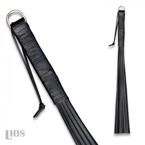 Zwarte Rundlederen zweep 45 cm van Saxos