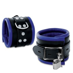 Leather Lockable Feetcuffs Black-Blue - os-0102-3bk