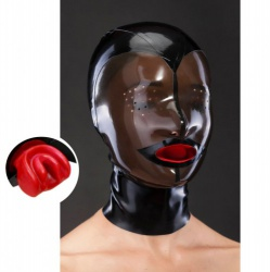 Latex Design Mask with Red Condome-gag and zipper - mae-sm-144
