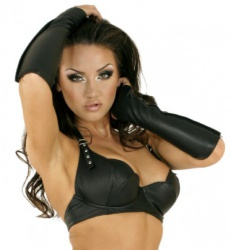 Adjustable Leather Bra in Black or Red by Ledapol - le-5609