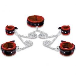 Lederen rood-zwart gevoerde 5cm hoge Hals- Pols- en Voetboeienset - os-0105-r