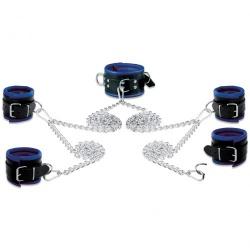 Lederen 8cm blauw-zwart gevoerde Hals- Pols- en Voetboeienset - os-0105-2b